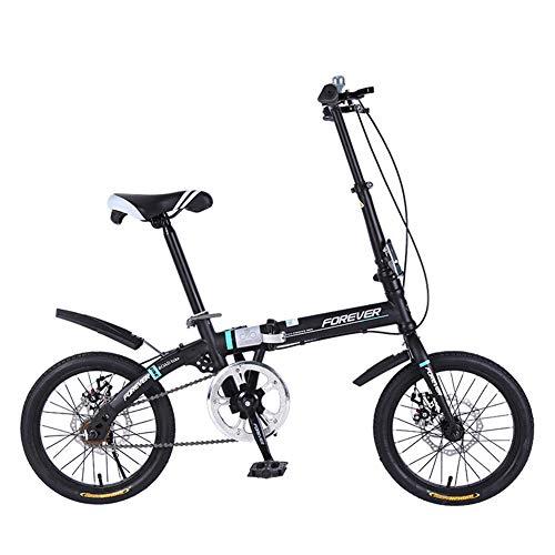 ZTIANR Folding Fahrrad, 16 Zoll Faltrad, Vorne Und Hinten Scheibenbremsen, Erwachsene Ultra Tragbarer City Bike Jugend Studenten Fahrrad,Schwarz