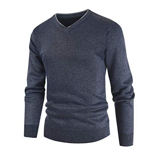 Mr.BaoLong & Miss.GO Suéter con Cuello En V para Hombre Suéter Y Jersey con Cuello En V para Hombre Suéter Casual De Color Sólido De Tamaño Europeo Camisa De Talla Grande para Hombre