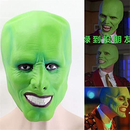 Miaoao-mask Die Maske, Jim Carrey Latex Maske, Cosplay Kostüme Kugel Karnevals-Party Props Terror Latex Hauben, Grün-OneSize (Color : A)