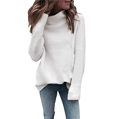 PFZL suéter de Punto Suelto de Manga Larga para Mujer con Cuello Alto de Color sólido suéteres para Mujer