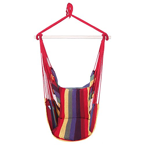 ONCLOUD Hanging Rope Hammock Chair Swing Seat for Yard, Bedroom, Patio, Porch, Indoor / Outdoor - 2 Seat Cushions Included (Rainbow)