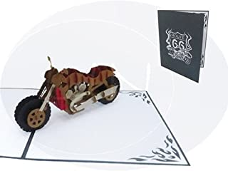 LIN Pop Up 3D Greeting Card for Motorcycle Fans, Chopper,