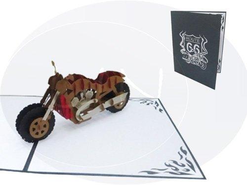 LIN17196, POP UP 3D-kaart motorfiets, verjaardagskaart wenskaarten vouwkaart voucher rijbewijs voertuig motorfiets, N161