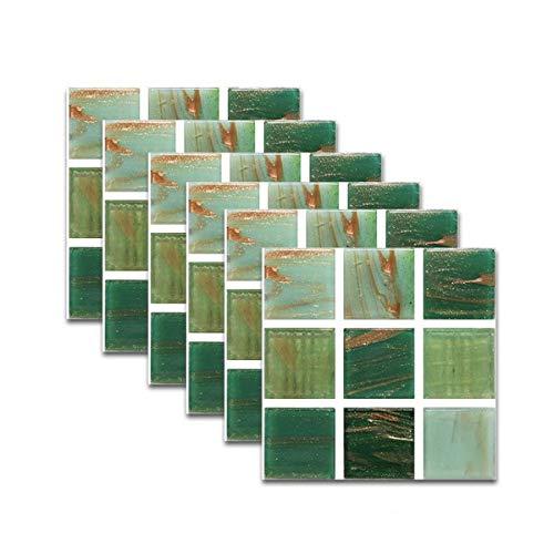 Leileixiao 6 pegatinas para azulejos de Goldfish Mosaicos de PVC para azulejos de suelo, pegatinas de pared, color verde (color: verde)