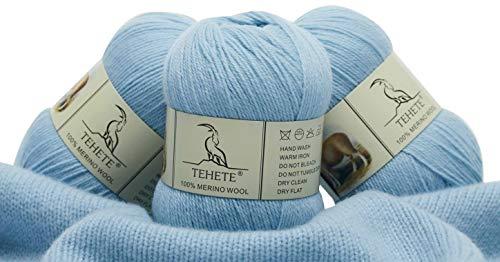 TEHETE 100% Merino Wool Yarn for Knitting 3-Ply Luxury Warm Soft Lightweight Blue Crochet Yarn (Sky Blue)
