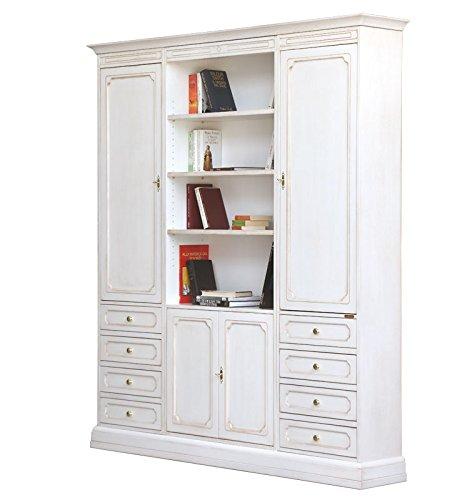 Arteferretto Wohnwand aus Holz in Weiß, Möbel im Stil für Wohnzimmer/Büro, Bücherregal-Möbel oder TV-Wohnwand Einfacher Aufbau, B183,5xT34,5xH211 cm