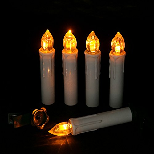 LED Taper Candles Battery Operated Flameless Flickering Candle With Remote, Amber Yellow Bulb, Pack of 10