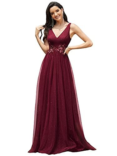 Ever-Pretty Vestito da Damigella Stile Impero Scollo a V Linea ad A Lungo Lustrino Tulle con Appliques Donna Borgogna 36