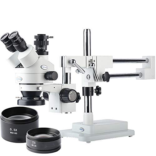 KOPPACE 3.5X-90X,Trinocular Stereo Microscope,Trinocular Interface 0.5XCTV,Phone Repair Stereo Microscope,Double-Arm Boom Stand,WF10X Eyepieces,Includes 0.5X and 2.0X Barlow Lens