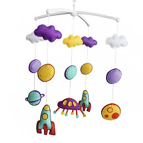 Pigeon Fleet Violet Jaune à la Main bébé Berceau Musical Mobile Bell coloré Univers bébé Douche Cadeau pépinière décor pour garçons