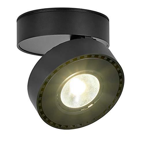 LANBOS 12W LED Aufbauleuchte Deckenleuchte/Deckenspots, Deckenfluter, Deckenstrahler, Decken-Lampe, Wand-Lampe/10x10x6CM/ COB Lampe/Aluminium (schwarz+Naturmweiß)