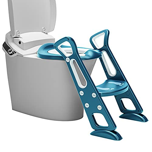 Adaptador WC Niños con Escalera,Asiento Inodoro,Escalera Asiento Escalera del Tocador de Niños,Reductor WC para Niños Acolchado Suave con Escalón Plegable Abatible Ajustable,Antideslizante,Seguro