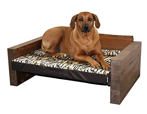 Jagdfallen Steingraf Hundebett Holz Tromsö 72cm x 108cm x 40cm Hundesofa Holz Hundeliege Holz Hundecouch Holz mit Matratze jedes Bett EIN Unikat (Tiger)