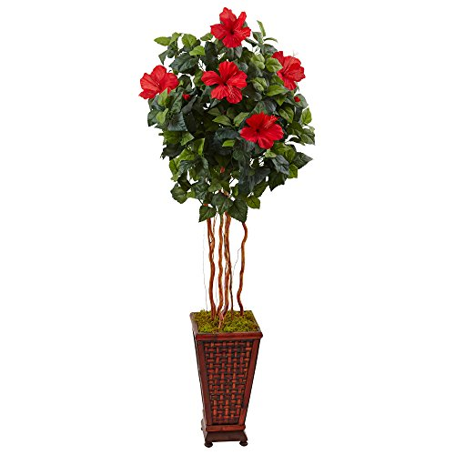 Nearly Natural 5' Hibiscus Artificial Tree in Planter, Green