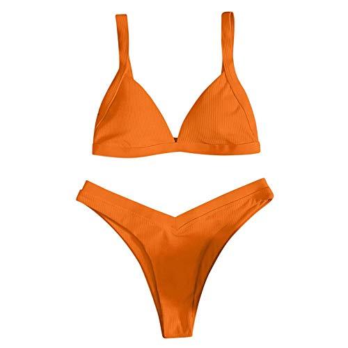 BaoDan Elastic Strap Bikini Set Minimizer Bikini Damen Triangle Swimwear Sports Badeanzug Gelb M