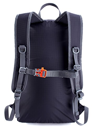 Venture Pal Ultralight Lightweight Packable Foldable Travel Camping Hiking Outdoor Sports Backpack Daypack-Black
