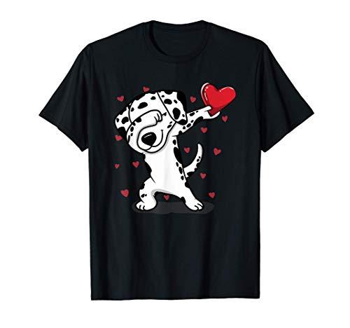 Dabbing Dálmata y Corazón Divertidos Regalos de San Valentín Camiseta