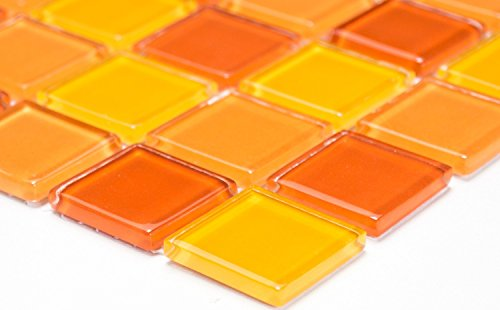Mosaik-Netzwerk Mosaikfliese Quadrat Crystal mix gelb/orange/rot Glasmosaik Transluzent Transparent 3D Fliesenspiegel, Mosaikstein Format: 25x25x4 mm, Bogengröße: 327x302 mm, 1 Bogen/Matte