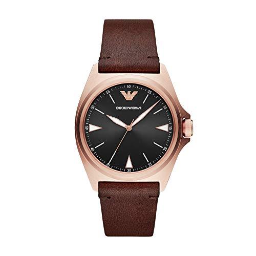Emporio Armani Reloj Analogico para Hombre de Cuarzo con Correa en Piel AR11258, Marrón
