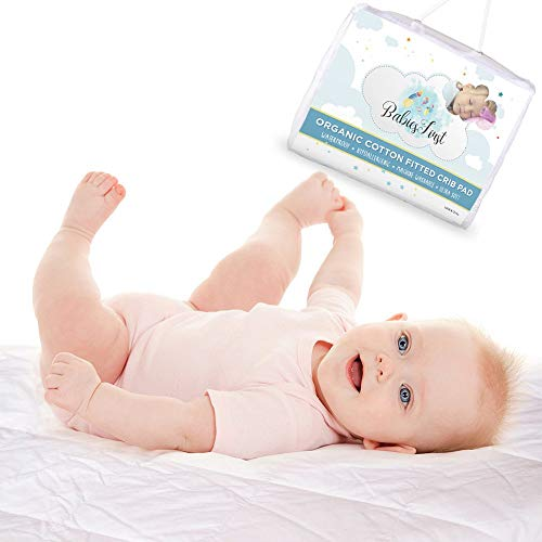 """Organic Cotton Crib Mattress Protector pad- Soft & Breathable Infant Fitted Waterproof Cover- Fits Most Baby Crib Mattresses (52""""x28""""x9"""")- Best Baby Shower Gift"""