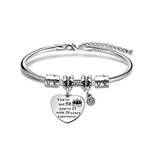 JIYAOANDX - Pulsera de cumpleaños de 50 años con piedra de nacimiento de la suerte, cadena de serpiente, ajustable, regalo de 50 cumpleaños, regalo de familia, regalo para mamá, abuela, tía