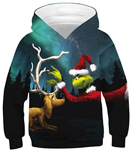 Silver Basic Mädchen Deer Weihnachtspullover Festliche Neuheit Frohe Weihnachten Gestrickte Pullover,Geweih,L-3