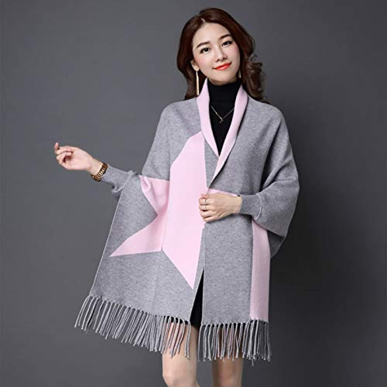 Zhuyuanhai Cloak female autumn and winter shawl scarf dualuse thick knit cardigan tassel with sleeve cloak coat