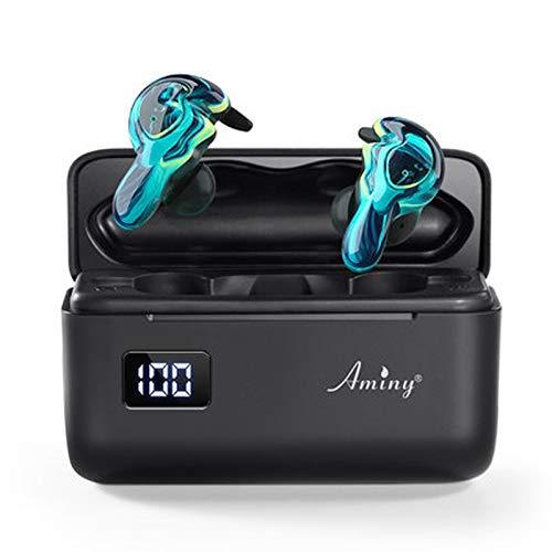 Zhangmeiren Auricular Inalámbrico Bluetooth del Oído Binaural Mini Pequeño Deportivo Invisibles Ejecutan Larga Espera (Color : Blue)