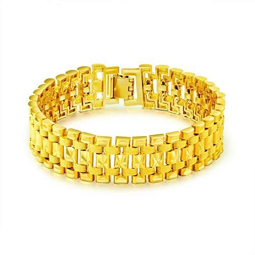 SLCN Pulsera chapada en Oro de 18 Quilates Ambiente clásico para Hombres Cadena de Reloj Ancha con...