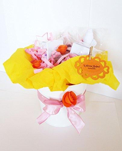 Idée cadeau pour bébé   Pot de fleurs avec deux produits MALVA BIANCA BIO et deux\