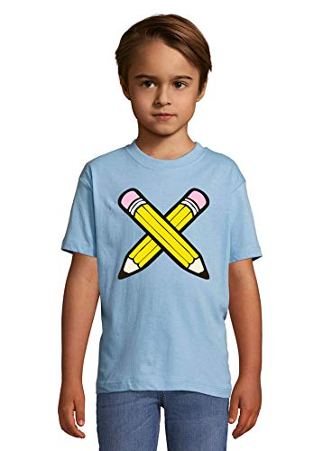 Luckyprint Crossed Pencils Power to Draw Heaven Kids Colorful T-Shirt 8 Year Old