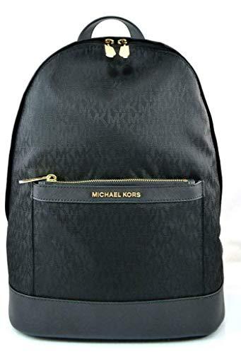 New Michael Kors Logo MK Signature Full Size Backpack School Book Bag Tote Black