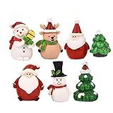 zdfgv 7 unids/Set árbol de Navidad en Miniatura Santa Claus muñecos de Nieve Accesorios de terrario Regalo Figuras de jardín de Hadas decoración de casa de muñecas 5,3 cm