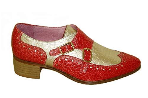 Vitelo 7278, Zapato Abotinado de Dos Hebillas, Piel Rojo/Platino, tacón Grueso