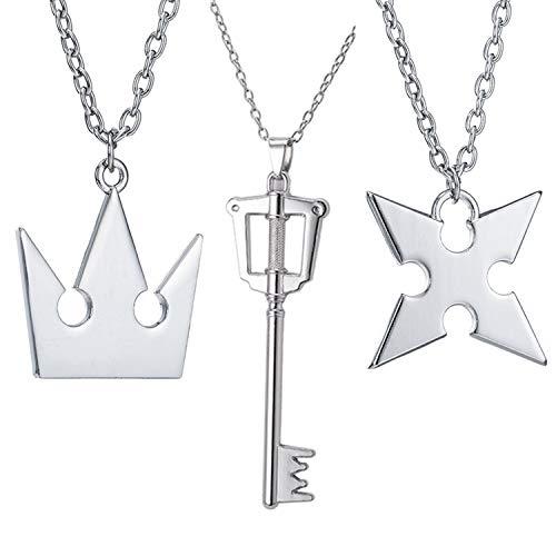 PPX Lot de 3 Colliers en Forme de cœurs Roxas + Collier Couronne Sora Collier de Kingdom Hearts, Birth by Sleep avec Pendentif en Forme de clé
