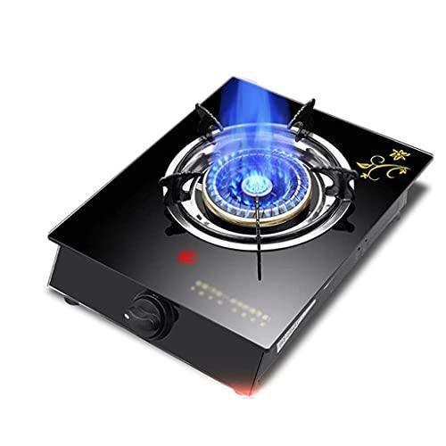 Estufa de gas de hierro fundido de tres anillos, cocina de mesa, propano de vidrio templado negro de 5.3KW / quemador de cocina natural para el hogar, con punto rojo anti escaldado [Clase energética A