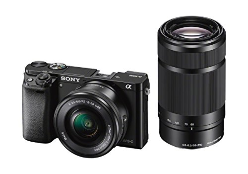 Sony Alpha 6000 Systeemcamera (24 megapixels, 7,6 cm (3 inch) LCD-display, Exmor APS-C sensor, Full-HD, High Speed Hybrid AF), Inclusief: Lens (16-50 mm en 55-210 mm), zwart, 120 x 66,9 x 45,1 mm