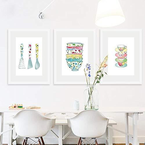 XLXZZ Nórdico, pequeño, Fresco, Estilo de Acuarela, vajilla, Lienzo, Pintura, Moderno, Restaurante, Hotel, Arte de la Pared, imágenes, decoración del hogar, 40x60cmx3 Piezas, sin Marco