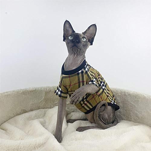 NMGTT Ropa de Gato esfinge Primavera y Verano Chaleco de Gato sin Pelo de algodón Puro Mangas Cortas-Negro_SG