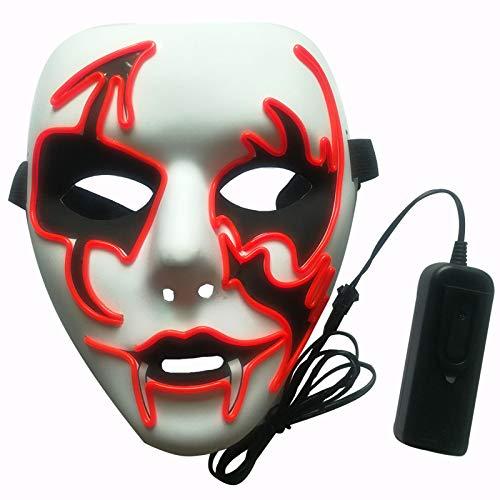 Máscaras Halloween, FANDE Máscaras de Terror, Craneo Esqueleto Mascaras, Halloween Purge Máscara 3 Modos de Iluminación, para Halloween/Cosplay/Mascarada (Rojo)