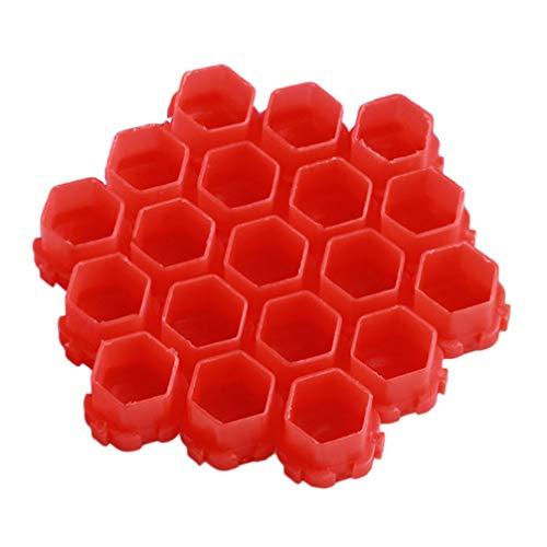 Healifty 200Pcs Tasses D'encre de Tatouage Couleurs en Plastique Conteneur de Pigment de Tatouage Épissable Nid D'abeille Petit Porte-Encre pour Peinture Approvisionnement en Maquillage (Rouge)