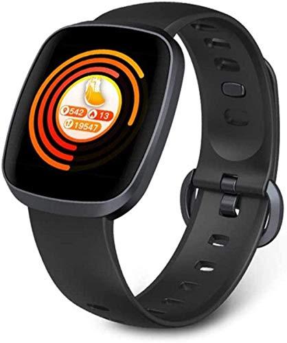 Reloj inteligente Ip68 resistente al agua con monitor de presión arterial de ritmo cardíaco pantalla completa táctil reloj deportivo para mujeres hombres desgaste diario A-negro