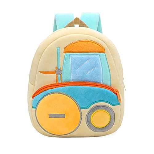 Urukundo - Mochila infantil con diseño de vehículo técnico para automóviles - Mini mochila para escuela, maestro para guardería, preescolar, niñas, niños, Carro elevador, M