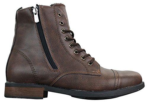 Tamboga Herrenstiefel Hiking Combat Design Blau Braun Boots Winter Warm