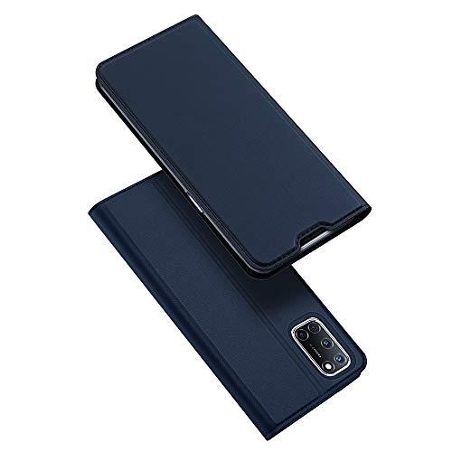 BaiFu Hülle für Oppo A52/A72/A92 Lederhülle Flip Hülle mit Magnetischem Superdünnem seidigem Brieftasche Schutzhülle Kompatibel mit Oppo A52/A72/A92-Blau