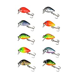Mini Crankbait Length : Our crankbait Length 1.18 inch ; Weight: 0.05 oz; 10 colors are avaiable. With steel ball inside,the ball is always rolling when dumping which can control barycenter easily and can be casted far. Unique Design: With high perfo...
