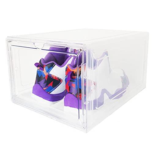 YUANB Caja de zapatos transparente, puerta magnética, caja de almacenamiento de plástico grueso, caja de almacenamiento extraíble a prueba de polvo