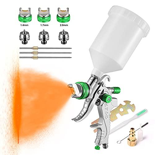 HUKOER HVLP Juego de herramientas de pistola de pulverización de alimentación por gravedad con boquillas de 600cc Copa 1.4/1.7/2.0 mm Adecuadas para pintar automóviles, muebles y otros equipos