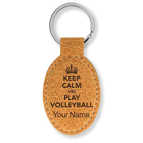 Oval Keychain, Keep Calm and Play Volleyball, Personalized Engraving Included (Cork)