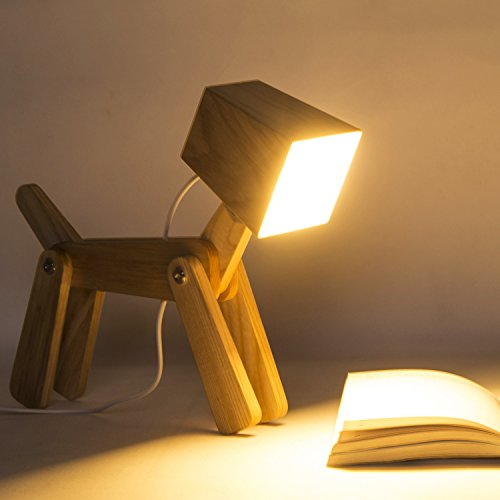 Cute Dog Adjustable Wooden Dimmable Beside Desk Table Lamp